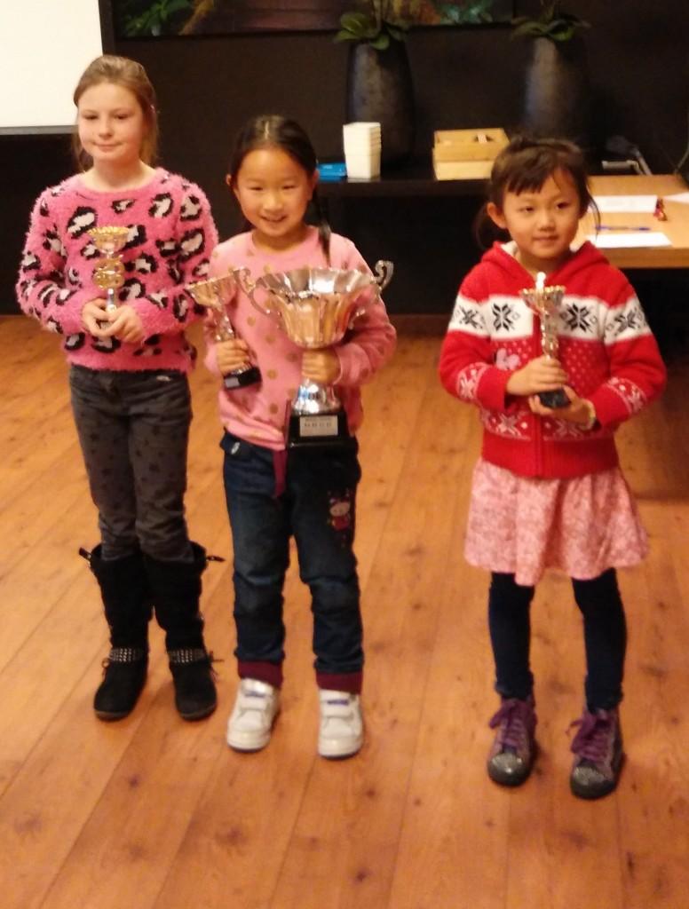 Wendy met 2 grote bekers en Elysia met de tweede prijs
