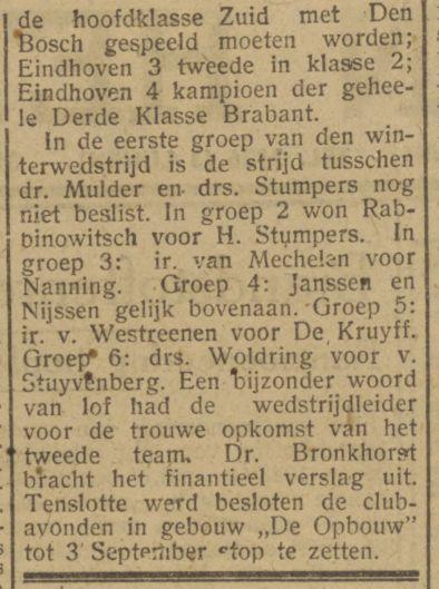Dagblad van het Zuiden, 30 juni 1943. Kolom rechts boven
